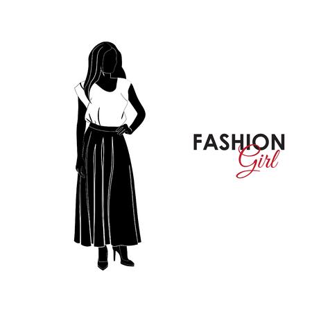 Una chica con falda larga y blusa. Ilustración de vector