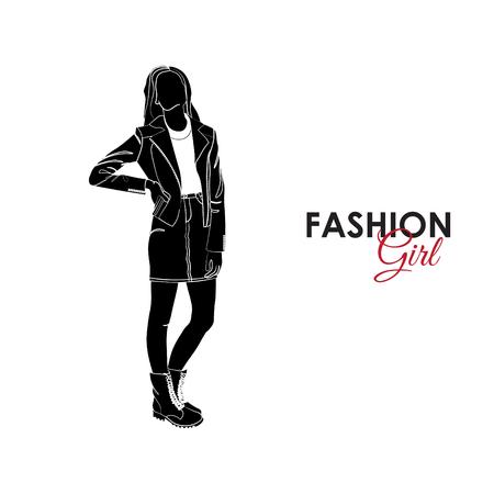 Girl in a denim skirt and denim jacket