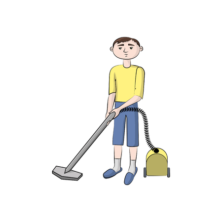 The guy, boy (man) with the vacuum cleaner.