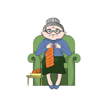 la nonna lavora a maglia su una sedia. Illustrazione di colore di vettore