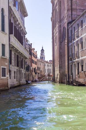 Venice lagoon. Houses in Venice. Venetian streets.