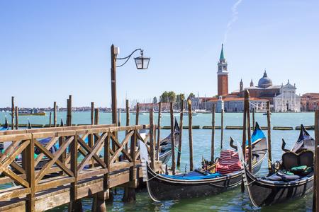 gondolas on the dock in Venice