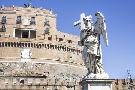 statues on the bridge of saint Angel Editorial