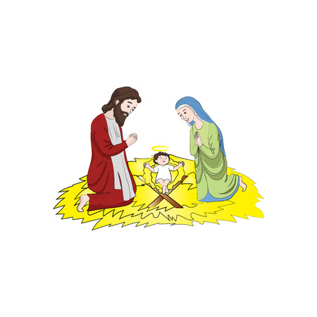 Mary and Joseph near the Baby Jesus Christ. Christmas. Vector color illustration