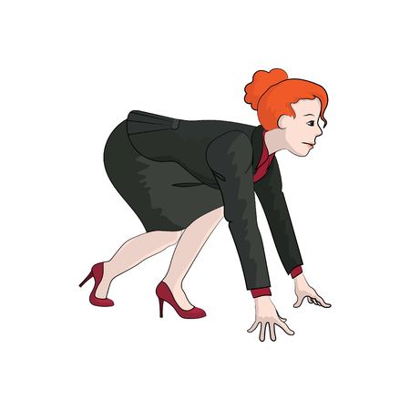 Businesswoman (girl, woman) on a low start. Vector color illustration