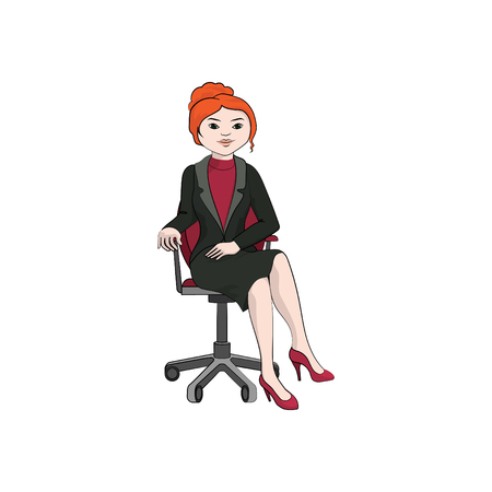 Businesswoman (girl, woman) sitting on an office chair. Vector color illustration Ilustração
