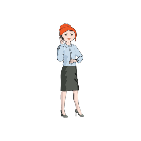 Businesswoman (girl, woman) talking on the mobile phone and looks at the wristwatch. Vector color illustration