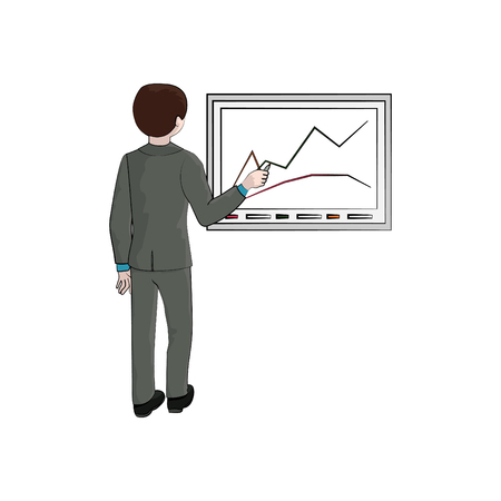 Businessman (man, boy) draws a graph. Vector