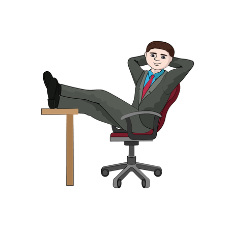 Businessman folded legs on the table (relax) vector Ilustração