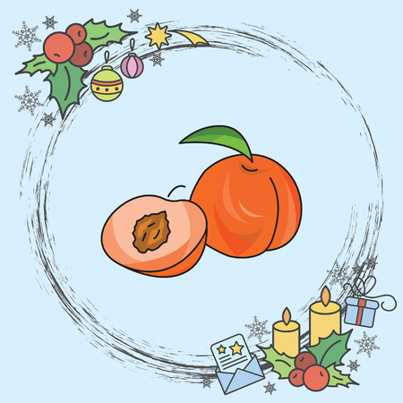 Peach vector icon Stock Illustratie