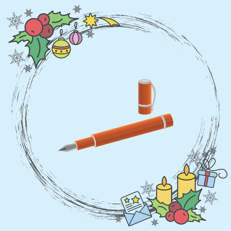 Color vector image. Pen with cap