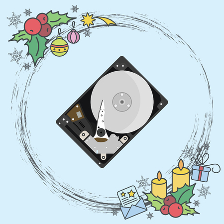 Color vector image. HDD, hard disk