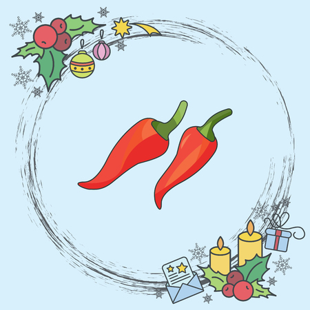 Color vector illustration. Chilli icon