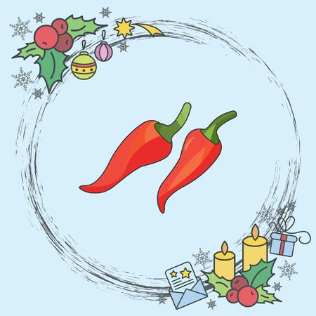 Color vector illustration. Chilli icon