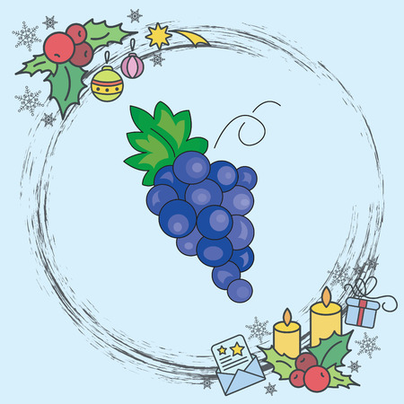 Color vector illustration. Grapes icon 일러스트