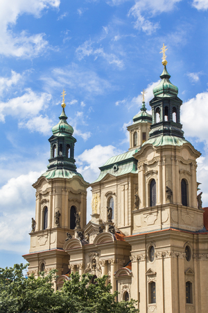 Church of St. Mikulas in Prague. Church of St. Nicholas in the Old Town Square. Architecture of Prague old town