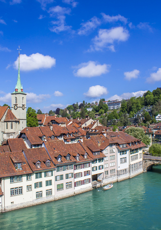 View of Bern. Aare river. Church Nidde Kirche