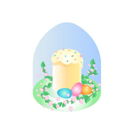 Easter cake and eggs with flowers vector