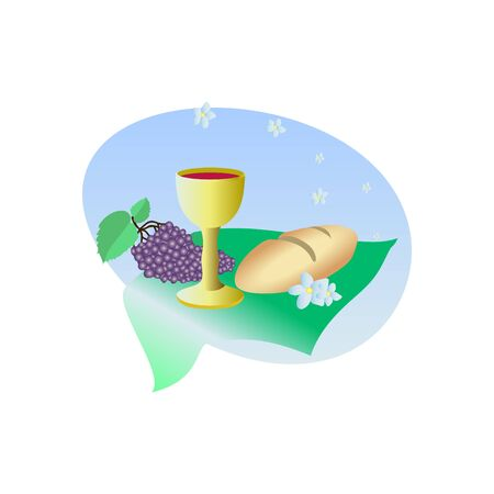 Lord's Supper, communion, Bread and Wine and grapes vector