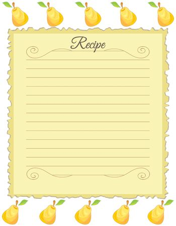 Paper for recipes. Form for recipes. Notebook paper with pear ornament. Vintage paper