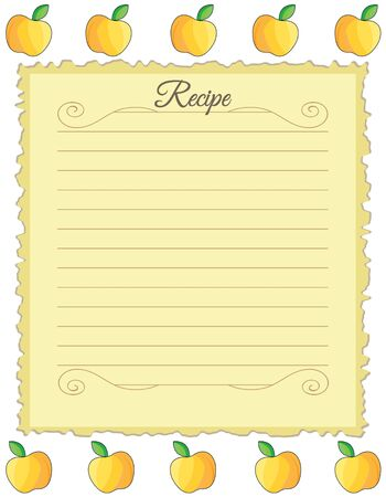 Paper for recipes. Form for recipes. Notebook paper with yellow apple ornament. Vintage paper