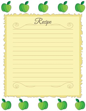 Paper for recipes. Form for recipes. Notebook paper with green apple ornament. Vintage paper