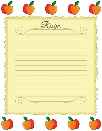 Paper for recipes. Form for recipes. Notebook paper with red apple ornament. Vintage paper Ilustracja