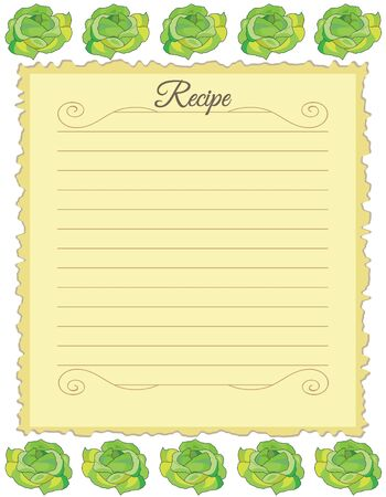 Paper for recipes. Form for recipes. Notebook paper with cabbage ornament. Vintage paper Banco de Imagens - 128454522