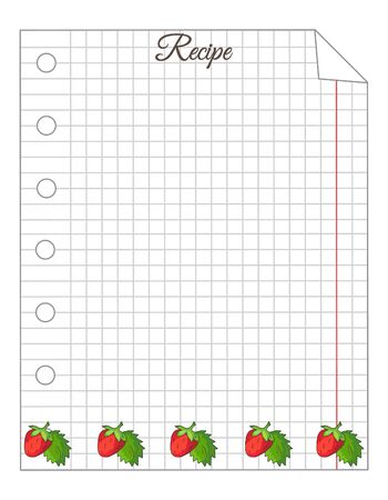 Leaf in a cage. A sheet of notepad. Note paper. Paper for recipes. Paper for recipes with strawberry ornament.