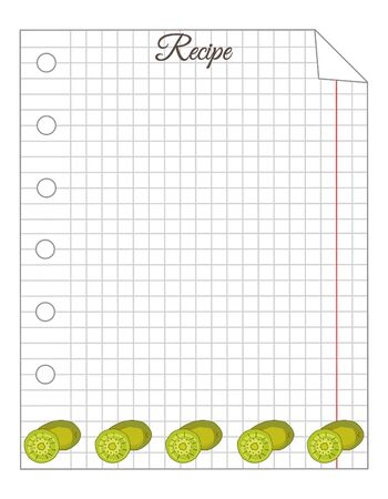 Leaf in a cage. A sheet of notepad. Note paper. Paper for recipes. Recipe paper with kiwi ornament. Stock Illustratie