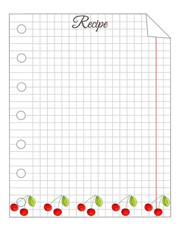 Leaf in a cage. A sheet of notepad. Note paper. Paper for recipes. Paper for recipes with cherry ornament. Stock Illustratie