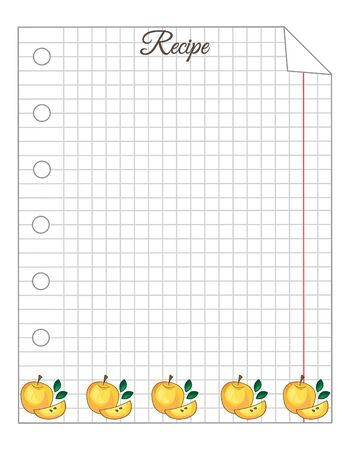 Leaf in a cage. A sheet of notepad. Note paper. Paper for recipes. Paper for recipes with yellow apple ornament. Stock Illustratie
