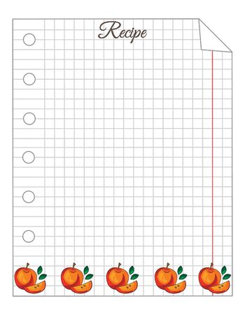 Leaf in a cage. A sheet of notepad. Note paper. Paper for recipes. Paper for recipes with red apple ornament. Stock Illustratie