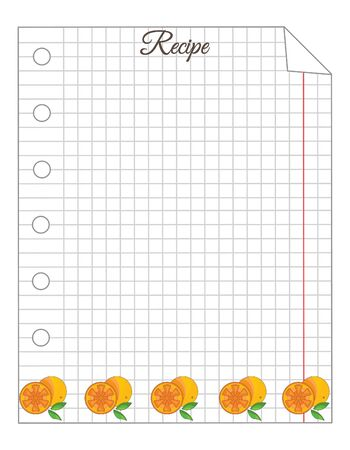 Leaf in a cage. A sheet of notepad. Note paper. Paper for recipes. Paper for recipes with orange ornament.