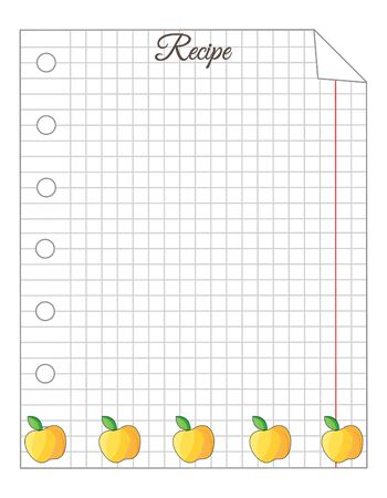 Leaf in a cage. A sheet of notepad. Note paper. Paper for recipes. Recipe paper with yellow apple ornament. Stock Illustratie