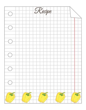 Leaf in a cage. A sheet of notepad. Note paper. Paper for recipes. Paper for recipes with yellow bell pepper ornament. Stock Illustratie