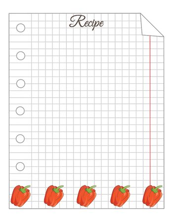 Leaf in a cage. A sheet of notepad. Note paper. Paper for recipes. Paper for recipes with red bell pepper ornament.