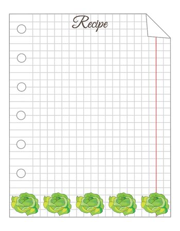 Leaf in a cage. A sheet of notepad. Note paper. Paper for recipes. Paper for recipes with cabbage ornament. Stock Illustratie