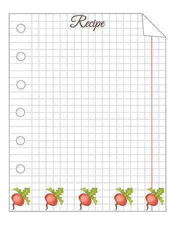 Leaf in a cage. A sheet of notepad. Note paper. Paper for recipes. Paper for recipes with beets ornament. Stock Illustratie