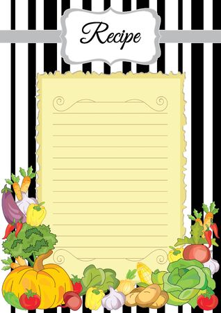 Note paper with vegetables. Paper for recipes. Form for recipes. Beautiful paper for kitchen records