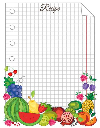 Note paper with fruit. Paper for recipes. Form for recipes. Beautiful paper for kitchen records Stock Illustratie