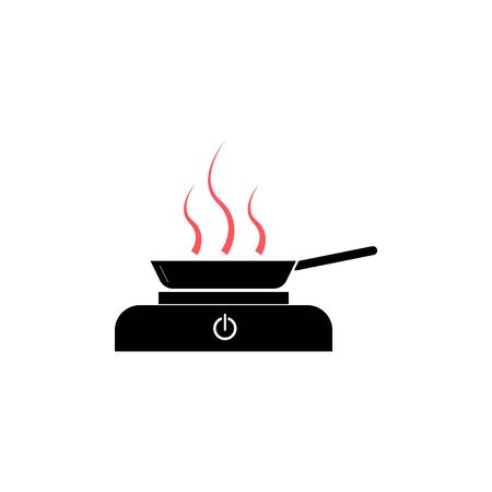 Frying pan on the stove vector