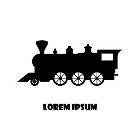 Tren locomotora de vapor retro, estilo vintage antiguo, icono de vector, banner emblema