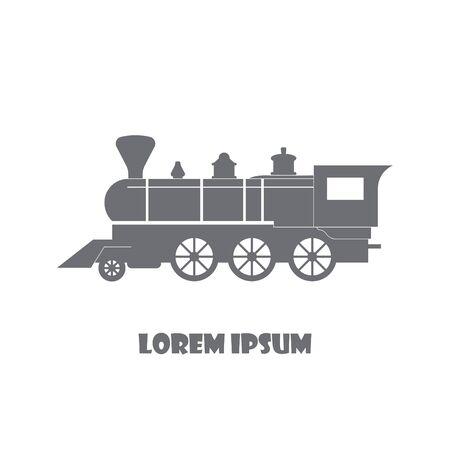 Train retro steam locomotive, old vintage style, vector icon, emblem banner