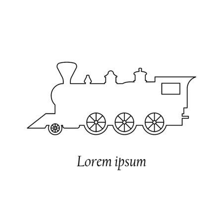 Train retro steam locomotive, old vintage style, vector icon line, emblem banner