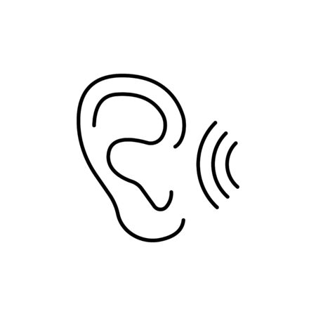 ear vector  line icon. hearing
