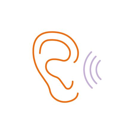 ear vector  line icon color. hearing Illustration