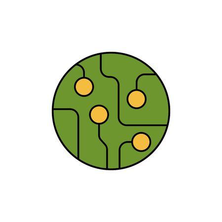 circuit board color icon vector