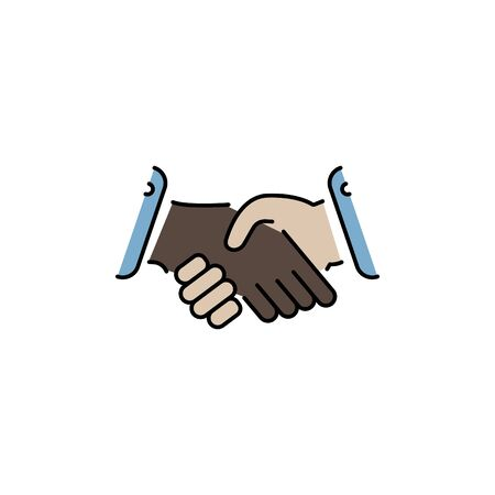 handshake vector color icon, logo Ilustração