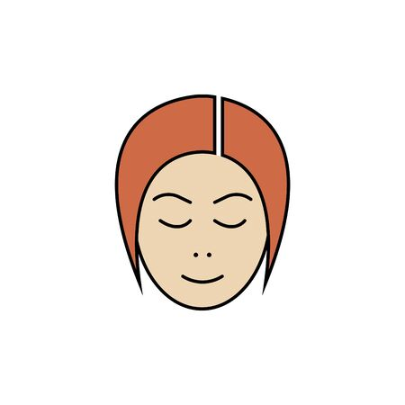 Girls head vector color icon. user girl. lady avatar sign, symbol. with red hair